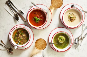 The soups Rooster offers, made from the conceptual extra Federal Donuts chicken bones. Photo Courtesy of Michael Persico