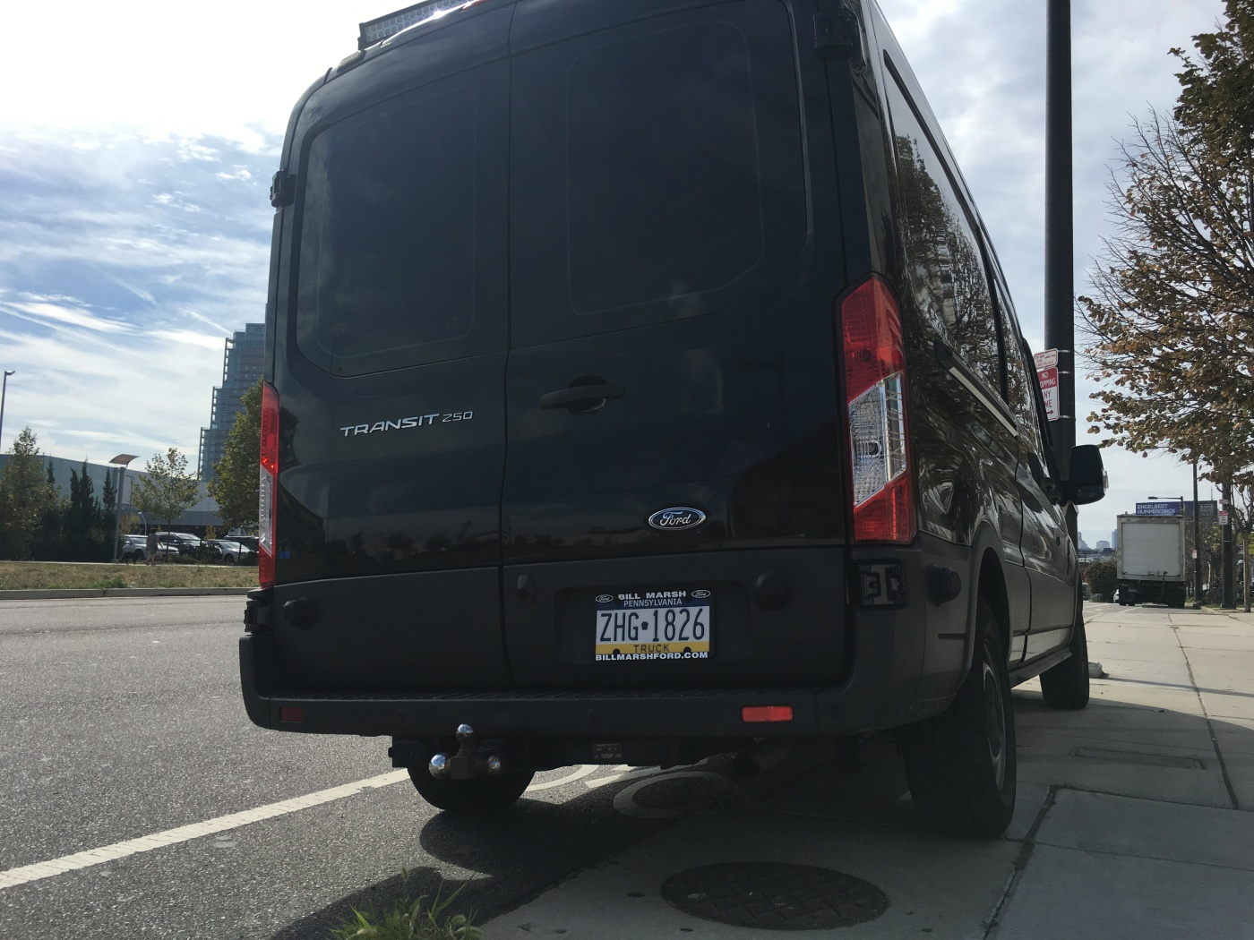 Van parks in a clearly marked bike lane along Delaware Ave. - Photo by Diana Shalenkova